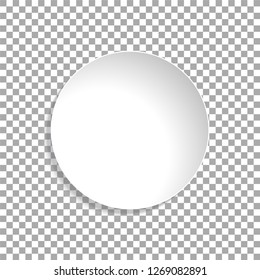 Vector paper circle sticker isolated on transparent background. Empty white paper