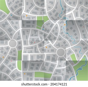 vector paper city map with folds