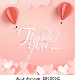 Vector paper craft style of thank you calligraphy,Love and valentines day concept.