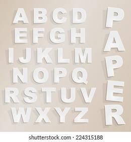 Vector paper cut alphabet