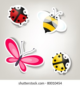 Vector paper cut bee and bugs icons