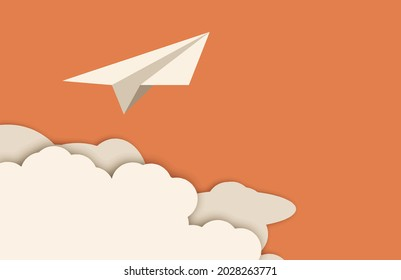 Vector paper cut clouds with airplane. Concept in modern 3d paper cut out style. Paper plane and clouds Eps10 vector illustration.
