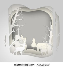 Vector paper cut deer in pine forest for Christmas background New Year card design.