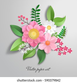Vector paper cut design with flower composition.