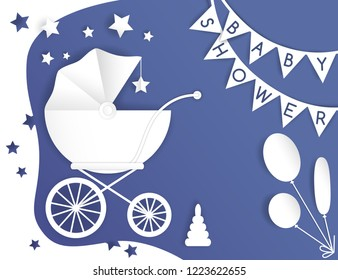 Vector paper cut illustration with baby's stroller. Baby shower card. Blue and white colors