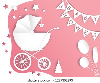 Vector paper cut illustration with baby's stroller. Baby shower card. Pink and white colors