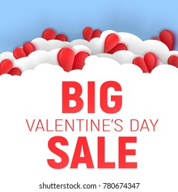 Vector paper cut illustration with red layered heart, white frame and big valentine's day sale text.
