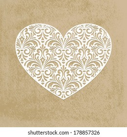 Vector paper cut lacy heart, transparency effects applied