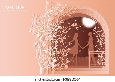 vector paper cut layer.man and woman hold hand in the pink garden backgound.copy space