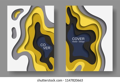 Vector paper cut layouts design set for presentations, flyers, posters. 3D modern backgrounds with papercut shapes. Vertical paper cutout template for banner, brochure cover, booklet design.