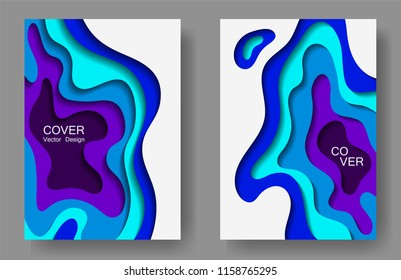 vector paper cut layouts design set stock vector royalty free