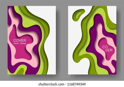 vector paper cut layouts design collection stock vector royalty