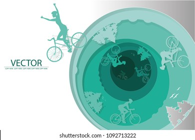 vector paper cut man riding bicycle in the wood.bicycle challenge.the winner.tournament.natural background