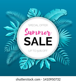 Vector paper cut poster with tropical leaves and text Summer Sale in the white round frame.  Banner design template.