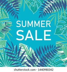 vector paper cut poster with tropical leaves and text Summer Sale in floral frame, banner design template
