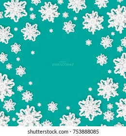 Vector paper cut with snowflakes .Merry Christmas Greetings card and Happy New Year. Winter snowflakes background. Space for text.