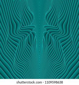 Vector paper cut waves modern frame. Trendy style illustration. 3d effect imitation