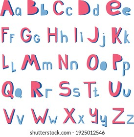 Vector Paper cutout alphabet in scruffy childish applique style