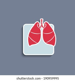 Vector paper cut-out icon of internal human organ lungs