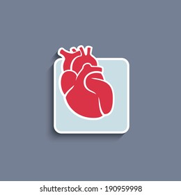 Vector paper cut-out icon of internal human organ heart