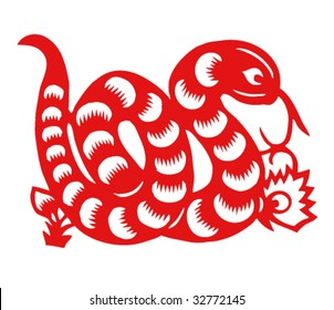 Vector of Paper Cutting Series,Chinese Zodiac Sign(No.6)--SNAKE.