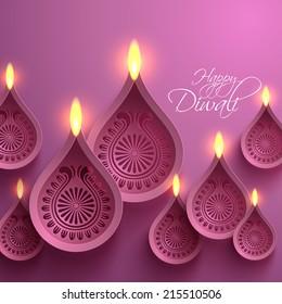 Vector Paper Diwali Diya (Oil Lamp).