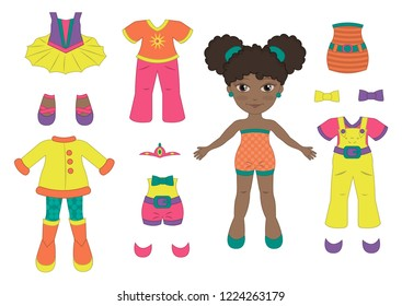 Vector paper doll baby ballet dancer and her outfits