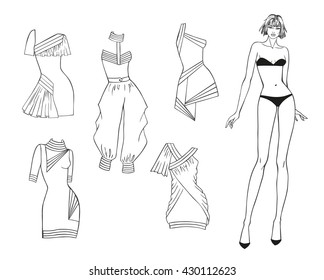Vector paper doll of a young beautiful girl and summer clothes for her. Vector fashion illustration. Coloring Page