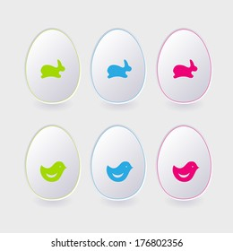 vector paper easter egg template for cards and greetings. Vector.