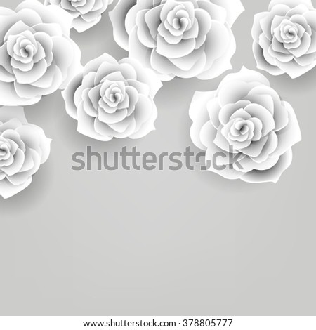 Vector paper flower origami rose wedding stock vector royalty free vector paper flower origami rose wedding invitation floral template mightylinksfo