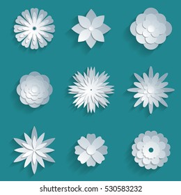 Origami flower images stock photos vectors shutterstock vector paper flowers set 3d origami abstract flower icons illustration mightylinksfo