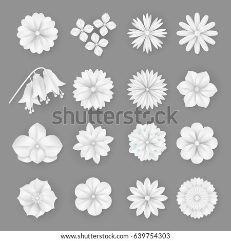 Vector Paper Flowers Set Illustration 3 D Stock Vector Royalty Free