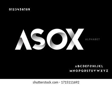 Vector of paper folding alphabet. 3D vector font - Shutterstock ID 1715111692