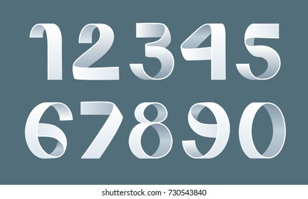 Vector of paper folding numbers. Ribbon script font. Vector of modern stylized paper font. Alphabet letters. 3d number set. Elements design. Logo.