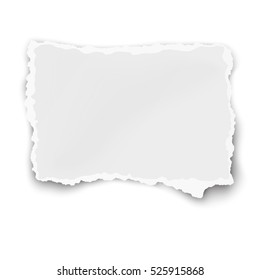 Vector paper fragment with soft shadow isolated on white background.