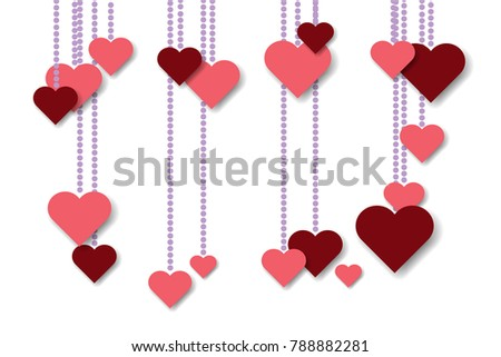 vector paper hearts template valentines day stock vector royalty