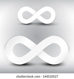 Vector paper infinity symbol on grey background