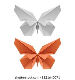 Vector paper japanese butterflies for logo, print, design isolated on white. Vector illustration