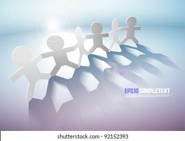 Vector Paper Men Teamwork