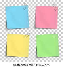 Vector paper mockup of color notes attached by metallic paper clips.