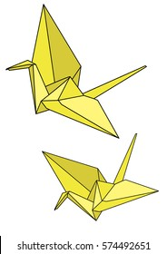 vector, paper origami crane isolated