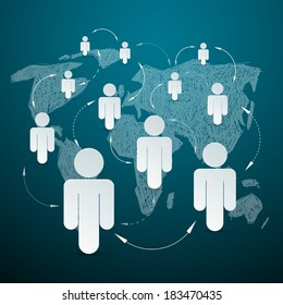 Vector Paper People on World Map - Social Media Connection
