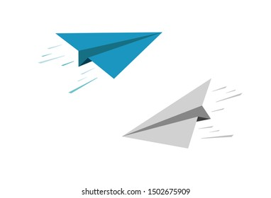 vector paper planes set on white background