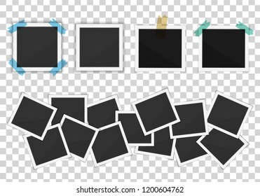 Vector paper Polaroid frames pack isolated on transparent background. Polaroid vector illustration