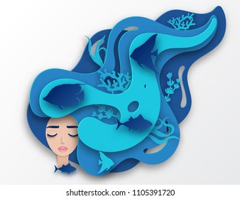 Vector paper portrait of young beautiful woman mermaid with long wavy hair. Paper underwater sea life with fishes, coral reef, seabed in algae, waves. Paper cut style vector. Deep blue marine life