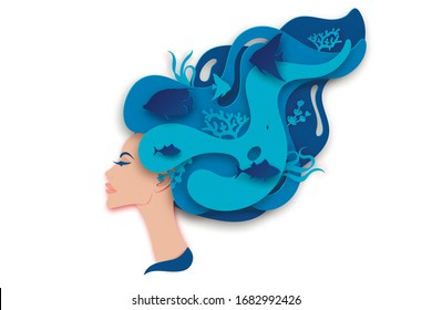 Vector paper portrait of young beautiful woman mermaid with long wavy hair. Paper underwater sea life with fishes, coral reef, seabed in algae, waves. Paper cut style vector. Deep blue marine life, di