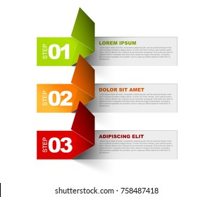 Vector Paper Progress template with three steps