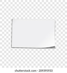 Vector paper sheet on transparent background. Curled corner paper sheet. Vector illustation