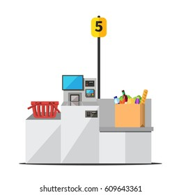 Vector paper shopping bag full of grocery standing on grey metal self checkout machine with cash and card payment, and bagging area. Empty red shopping bag is placed on the other side of the register.