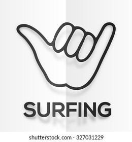 Vector paper silhouette black surfers shaka symbol with realistic shadow